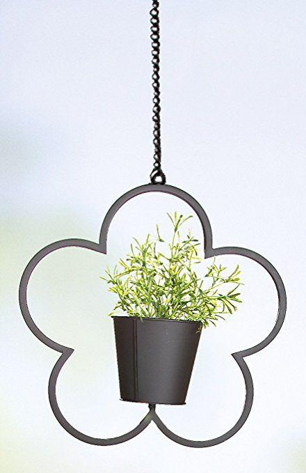 GILDE Blumenampel Blumentopf Dekoartikel Blume aus Metall, 36 cm ...