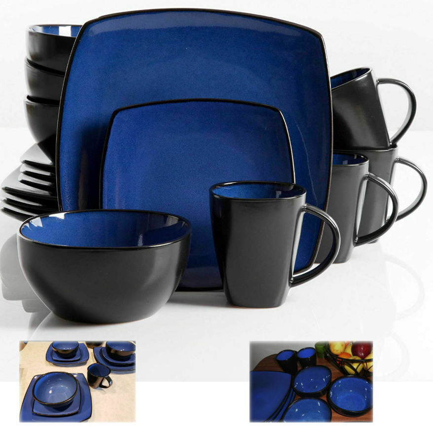 Dinnerware Set Square Dinner Plates Mugs Dishes Bowls Home Kitchen 16 Pcs Blue  - Dinnerware - Ideas of Dinnerware #Dinnerware #casualdinnerware