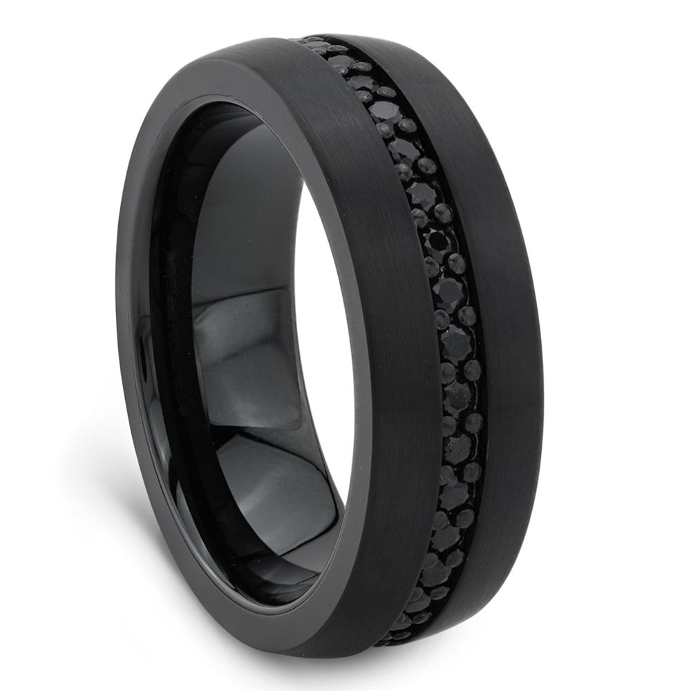 Black Tungsten Ring With Black Sapphires By Triton Black Tungsten Rings Rings For Men Black Wedding Rings