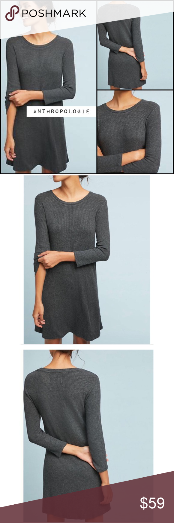 47a02b5651c5 Anthropologie Chrissy Tunic Dress NWT Gray XL NEW BNWT brand new with tags  Women's size XL Cream off white motif Viscose, elastane Pullover styling  Dry ...
