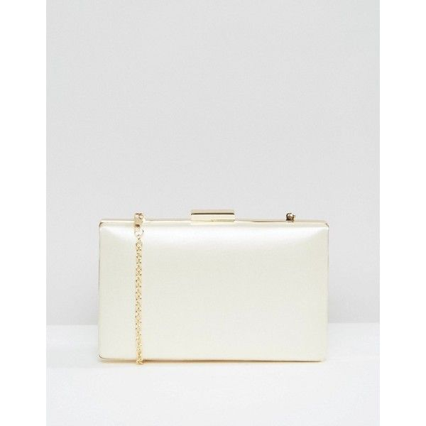 ASOS WEDDING Satin Hard Clutch Bag (£28) ❤ liked on Polyvore featuring bags, handbags, clutches, cream, clasp purse, structured purse, box clutch, prom clutches and white box clutch