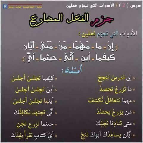 جزم الفعل المضارع Learning Arabic Learn Arabic Language Arabic Lessons