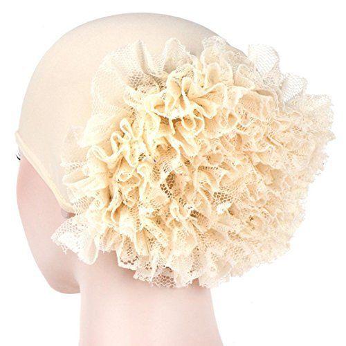 GINELO Women Floral Turban Wrap India Hat Muslim Ruffle Head wear Scarf Cap  ❤️The floral 93ccca5ce15