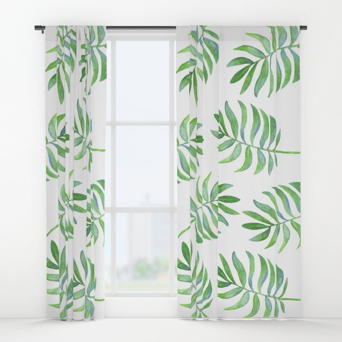 Watercolor Tropical Palm Leaf Pattern Curtains