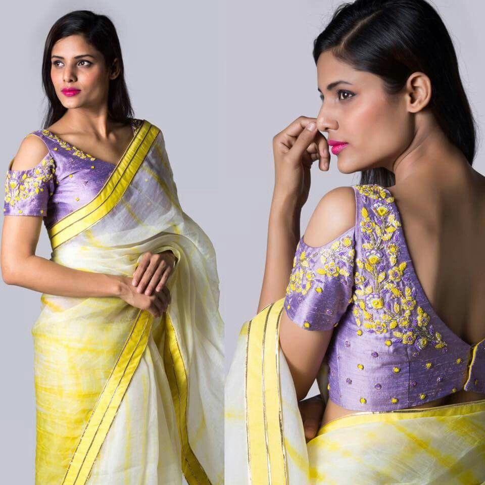 Image result for cold shoulder saree blouse
