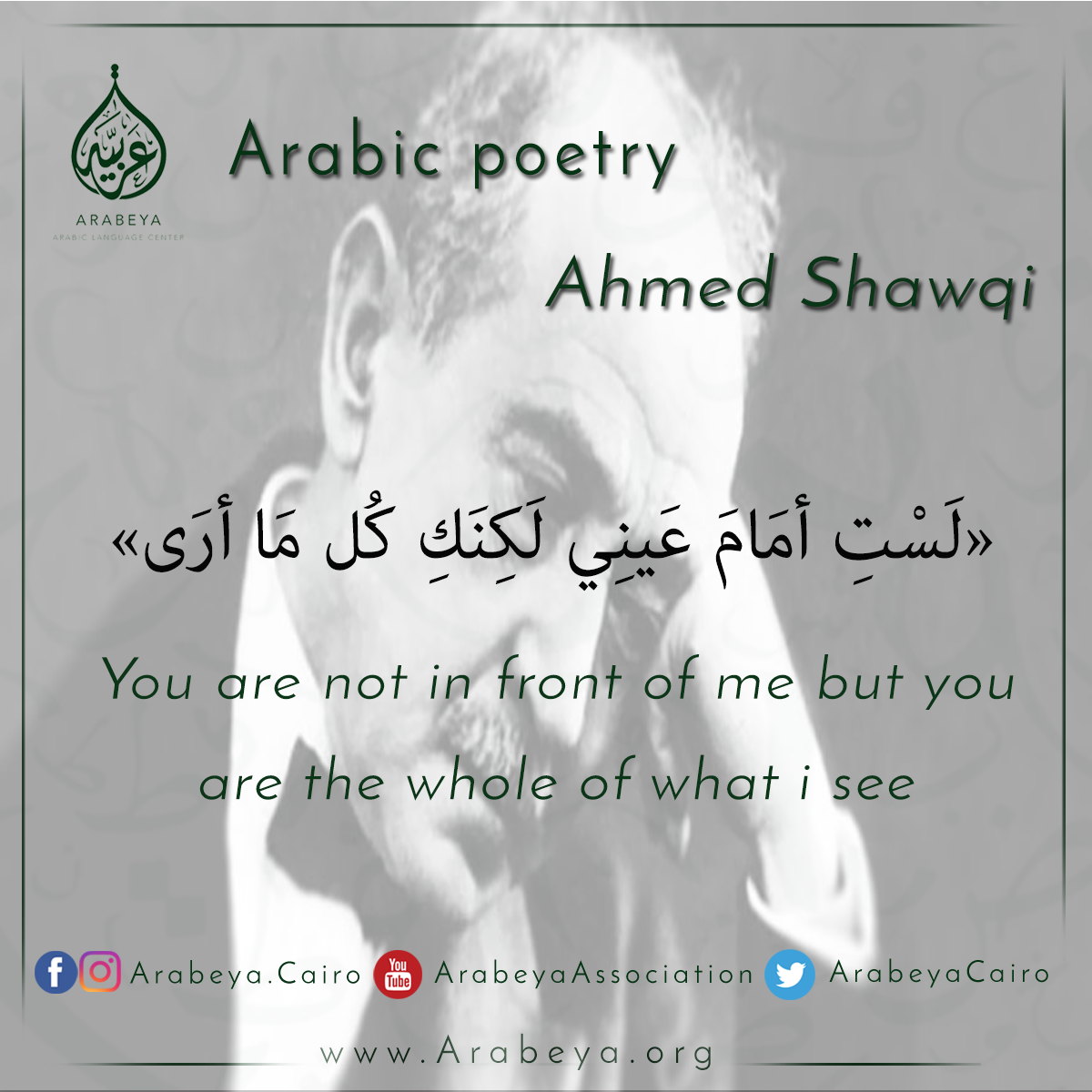 Egyptian Poet Ahmed Shawqi Calligraphy Arabic Quotes Quotations