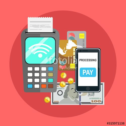 Methods payment concept POS terminal confirm the payment NFC payment Online bank Credit card Cash Vector illustration in flat style