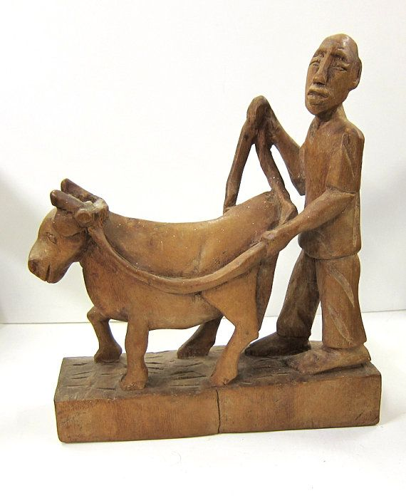 Hand-Carved African Wood Farmer and Cow by 13thhourvintageshop