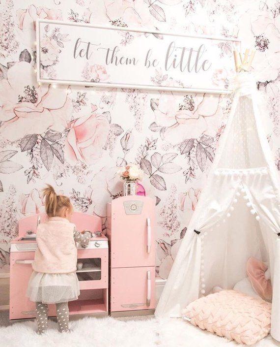 Snowy Rose Wallpaper Wallpaper For Baby Room Kids Room Etsy Floral Wallpaper Bedroom Pink Playroom Baby Girl Wallpaper