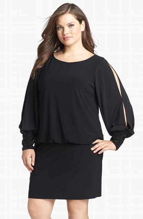 Xscape Embellished Cuff Blouson Jersey Dress (Plus Size) | On ...