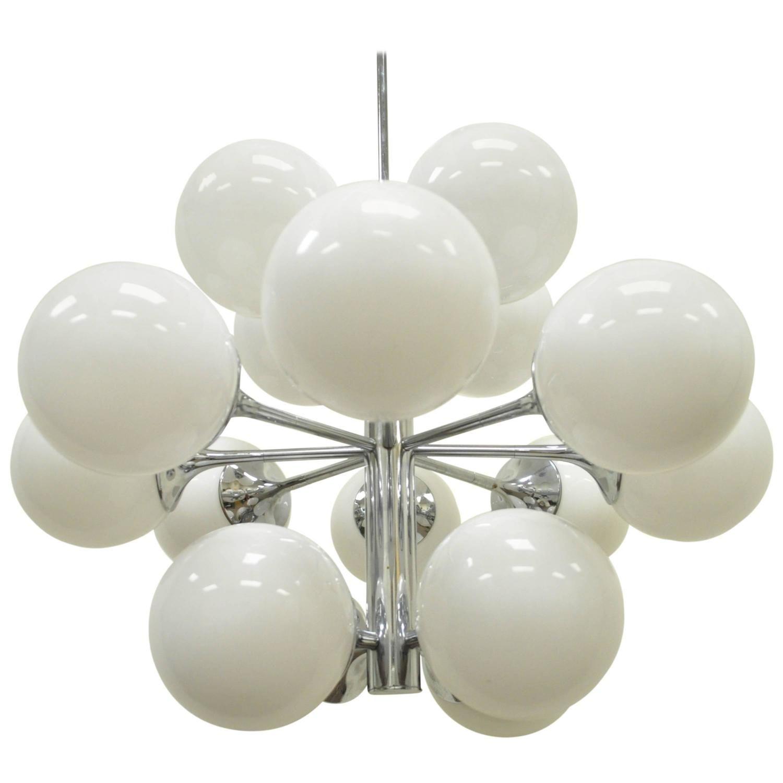 Mid Century Modern Lightolier Atomic Chrome And Glass Sputnik Style Chandelier