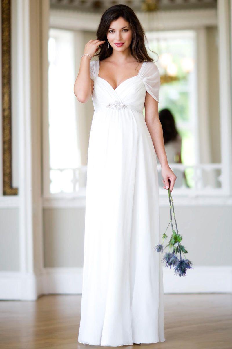 Schlichte Herz Ausschnitt Ivory Chiffon Brautkleider für Schwangere ...