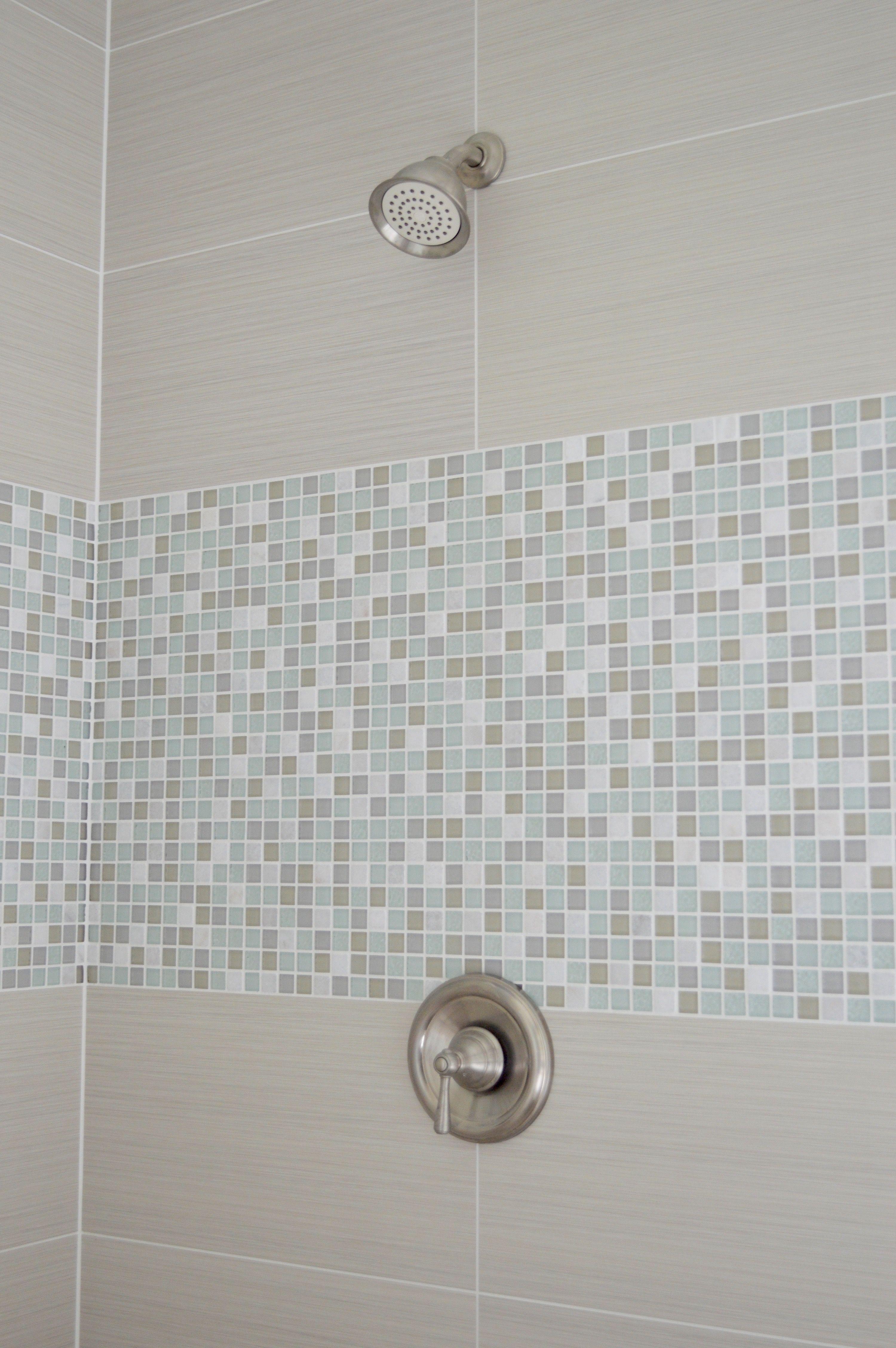 Gorgeous spa master bathroom renovation aqua glass mosaic tile and ...