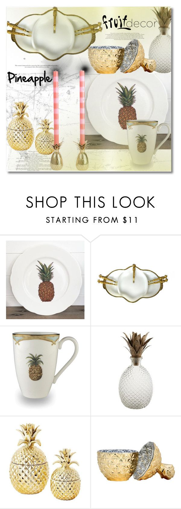 """Fruit Decor Pineapple"" by vkmd ❤ liked on Polyvore featuring interior, interiors, interior design, home, home decor, interior decorating, Lenox, Pier 1 Imports, H&M and fruitdecor"