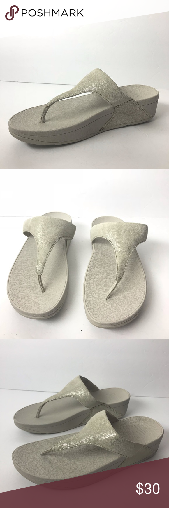 dd28a9243d9 Fitflop pale gold shimmy suede toe post sandals 8 Fitflop women s thong  flip flop sandals Pale gold shimmy suede toe post Women s size 8 Gently  used ...