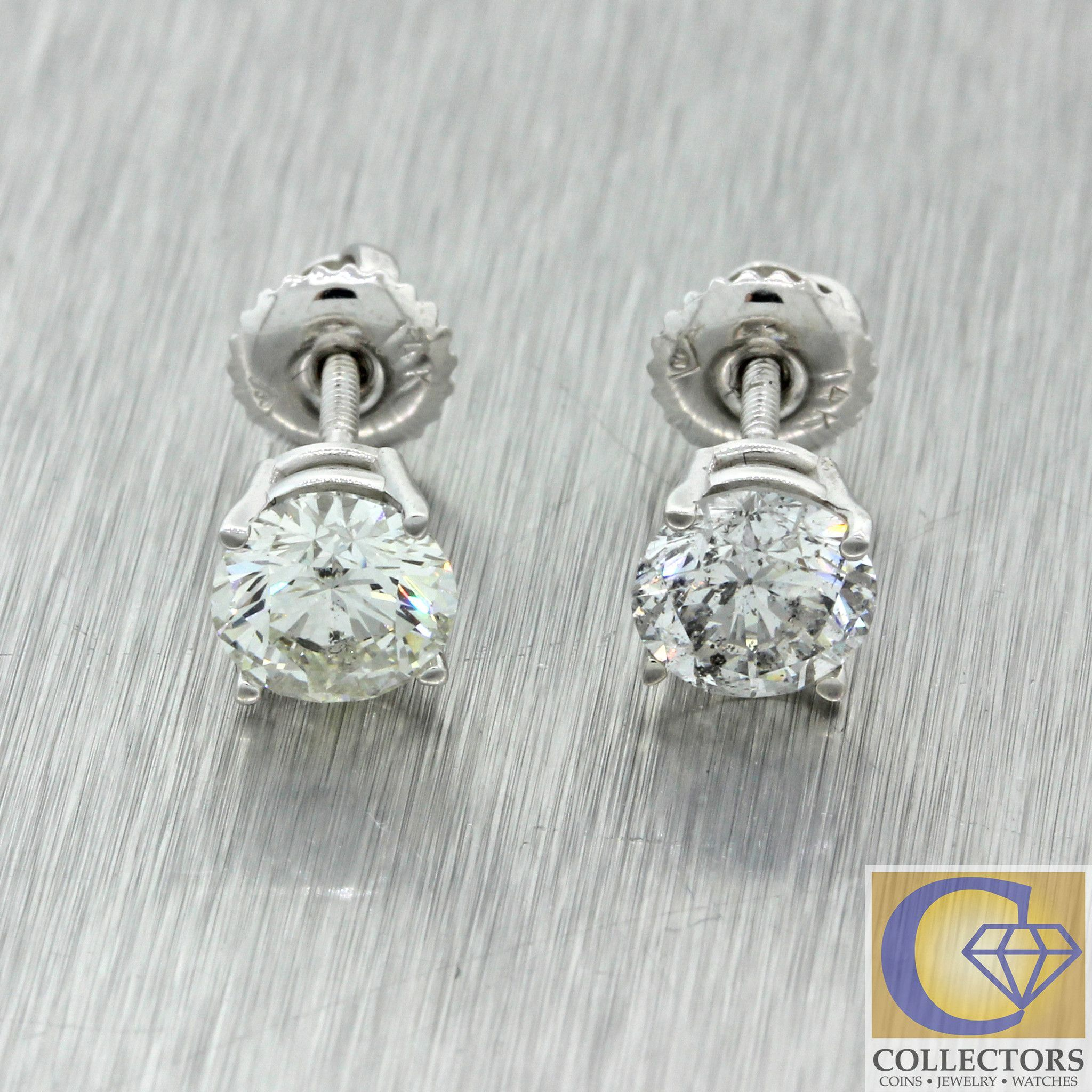 antique hi white h carat total earrings stud views more i diamond gold