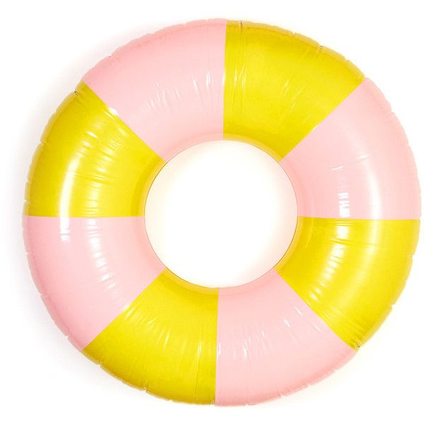 ban.do Float On Inflatable Ring - Beverly Stripe (€25) ❤ liked on Polyvore featuring jewelry, rings, accessories, pool float, pink, beach rings, oversized jewelry, beach jewelry, pink jewelry and pink ring