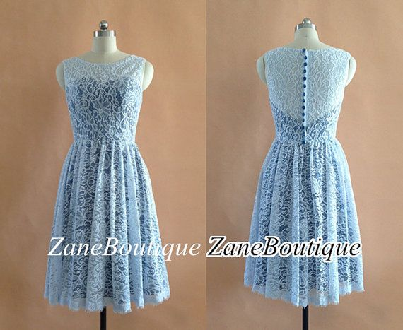 Lace Bridesmaid Dress Straps Short Lace by ZaneBoutiqueDress, $99.00