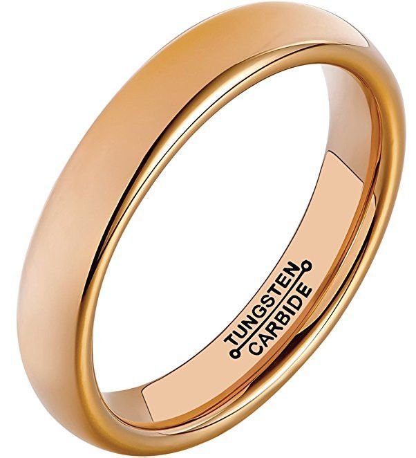 4mm 18k Rose Gold Plated Polish Comfort Fit Domed Tungsten Carbide Ring Wedding Band [2mm, 4mm, 5mm, 6mm, 7mm]
