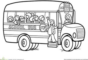 Back to School Kindergarten Vehicles Worksheets: School