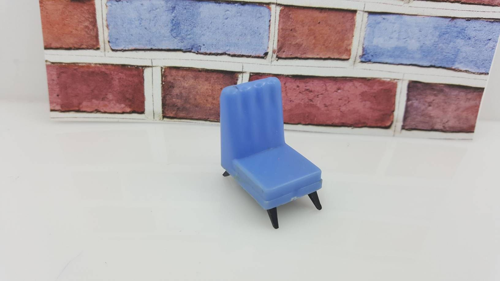Blue Box Armless Chair Doll House Furniture Blue MCM Hard Plastic # Collectors #dollhouse