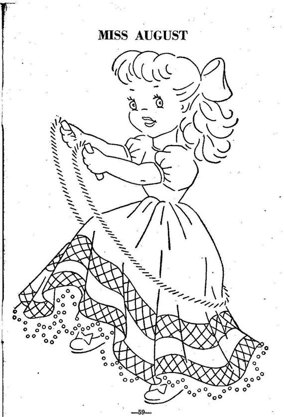 Digital 1950\'s Hand Embroidery Quilt PATTERN 12 Dolls of the month ...