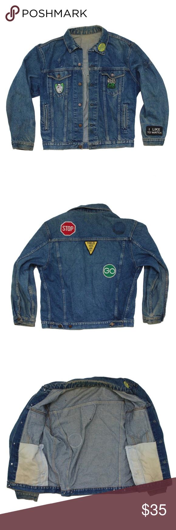 Vintage 1980s Biker Patch Faded Denim Jacket Vintage 1980s