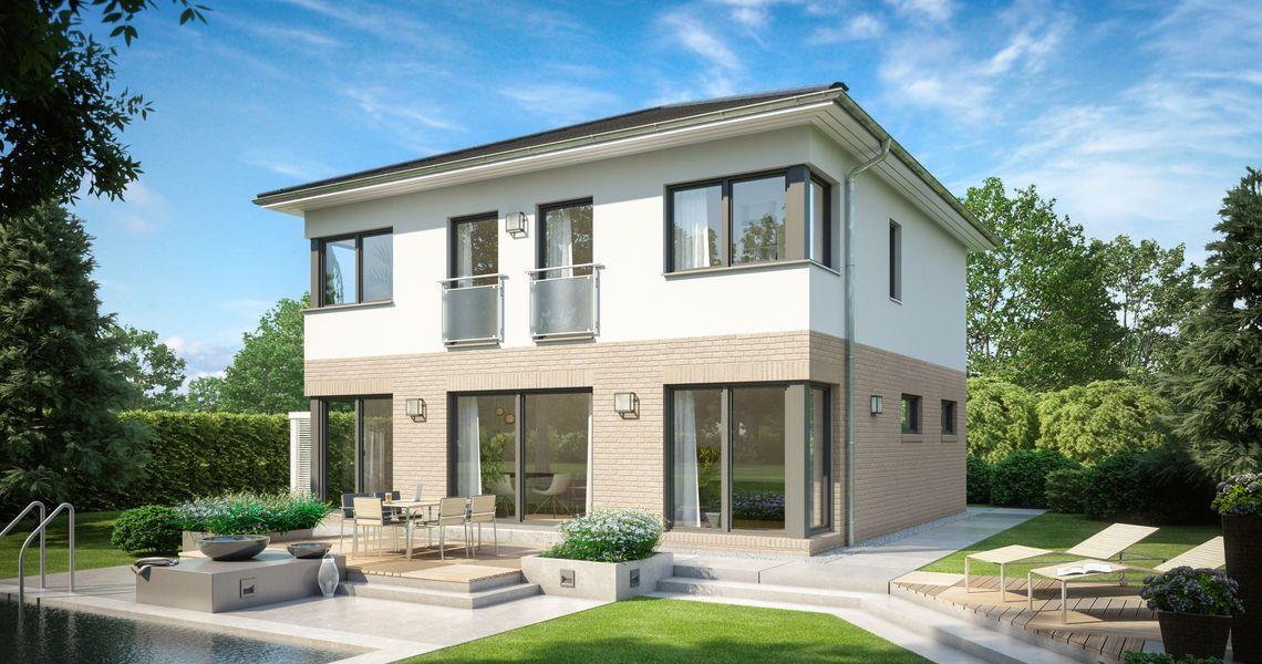 massivhaus kern haus stadtvilla centro klinker gartenseite haus pinterest. Black Bedroom Furniture Sets. Home Design Ideas