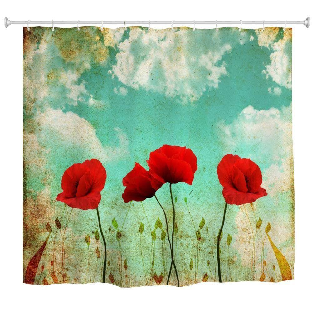 Sky poppy flower waterproof polyester d printing bathroom shower