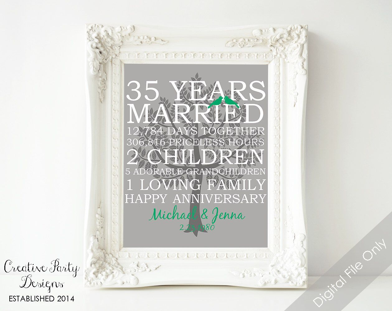 35th Wedding Anniversary Gift - 35th Anniversary Print - Family Prints - Personalized Name Family Tree - Love Birds - Home Decor Wall Art