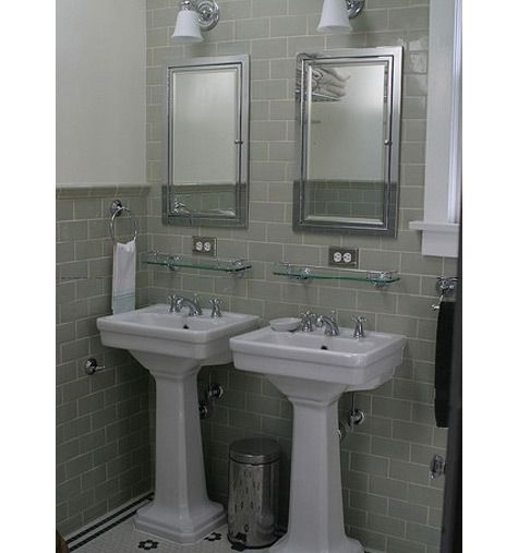 Sidebyside Pedestal Sinks And Subway Tile  Bathroom Ideas Delectable Double Sink For Small Bathroom Review