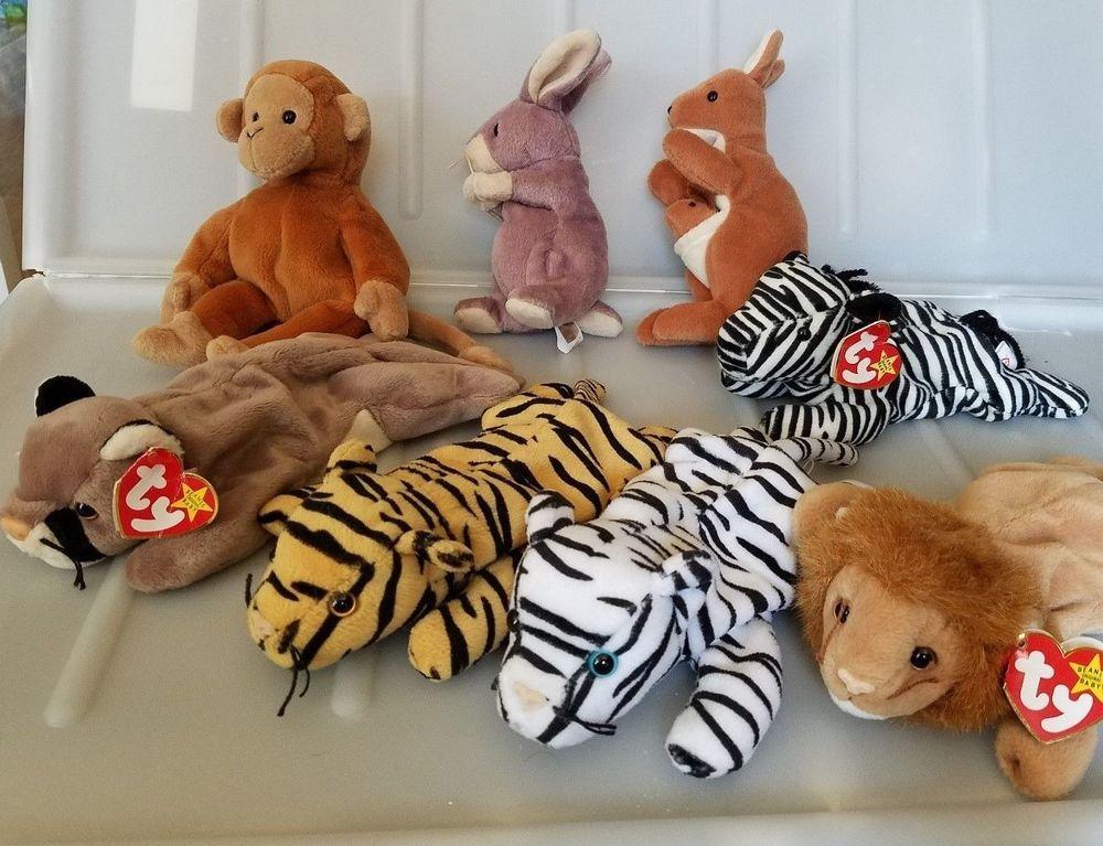 TY Beanies Babies Wild Animals Lot of 8 Jungle Australia