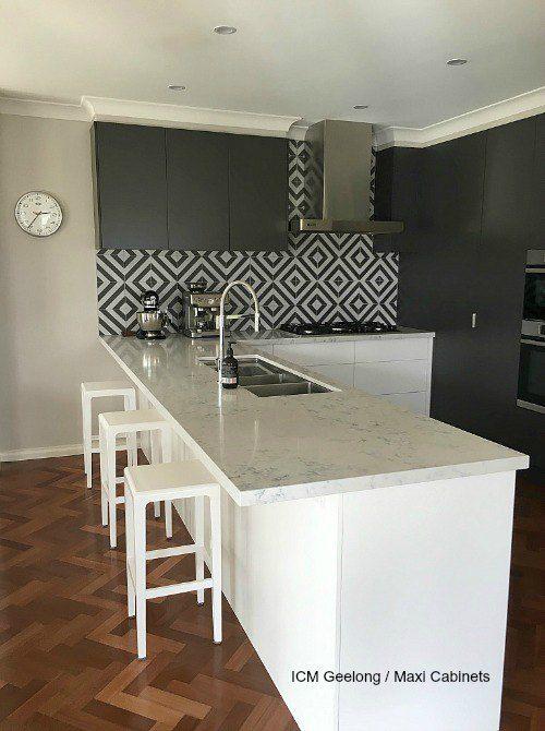 Kitchen Tiles Geelong striking kitchen renovationmaxi cabinets, geelong. bench tops