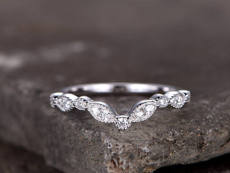 Sterling Silver Ring Cubic Zirconia Wedding Band Cz Wedding Ring Stackable Ring Matching Band Marquise Band Curved Sharp V Shape Gap Ring Silver Wedding Rings Stackable Rings Wedding Custom Wedding Rings
