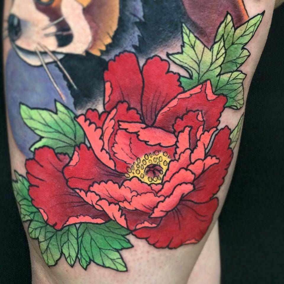 43 Japanese Peony Tattoos Collection: New School Style Red Peony Tattoo On The Left Thigh. By