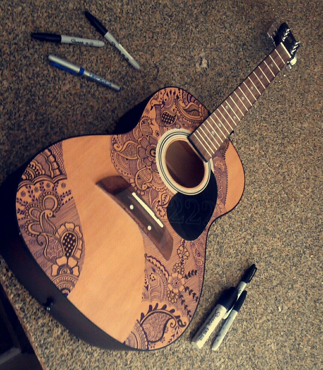 henna design on guitar i used a setting spray after the sharpie but it kind of messed up a. Black Bedroom Furniture Sets. Home Design Ideas