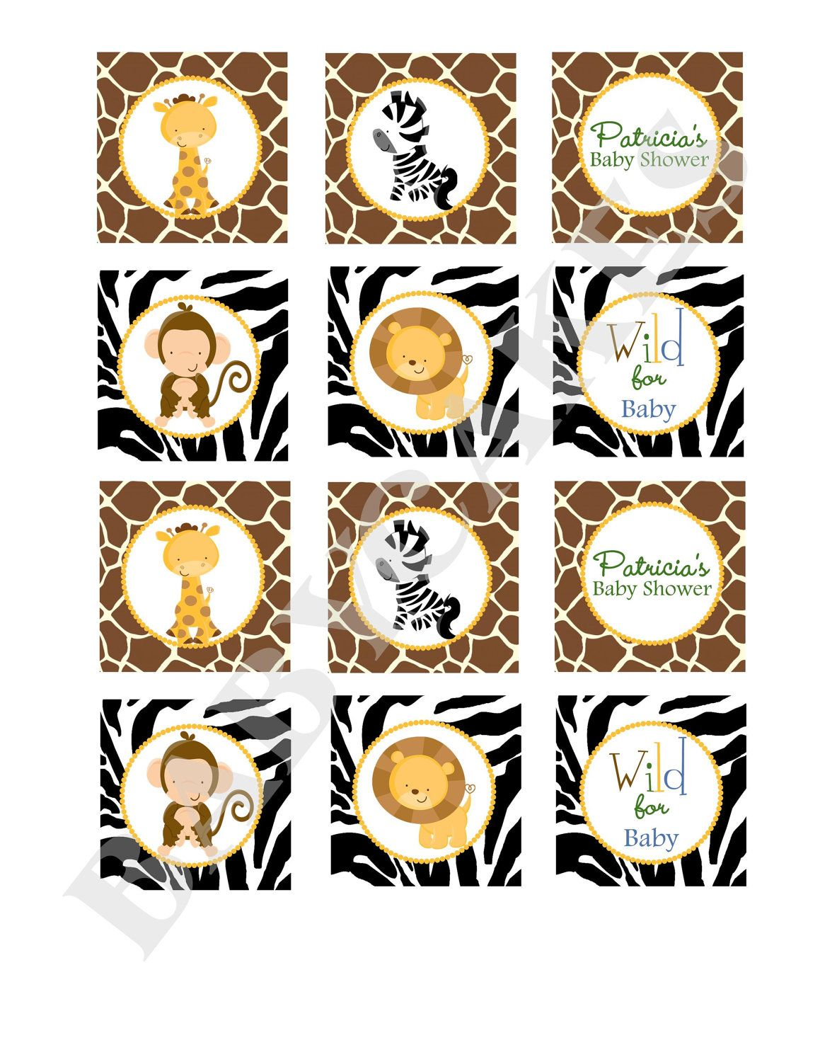 Safari Jungle Animals Cupcake Toppers Baby Shower Stickers Labels Tags