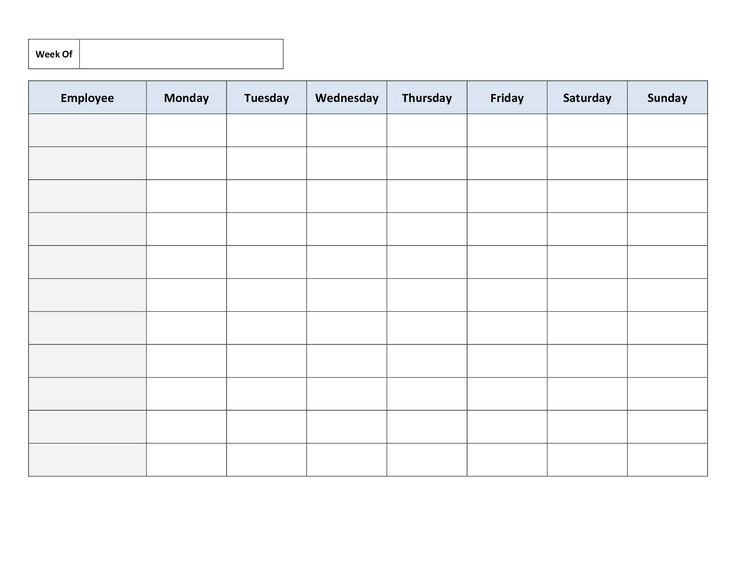 Schedule Templates Work Templates Employee Schedule Template - Monday through friday schedule template