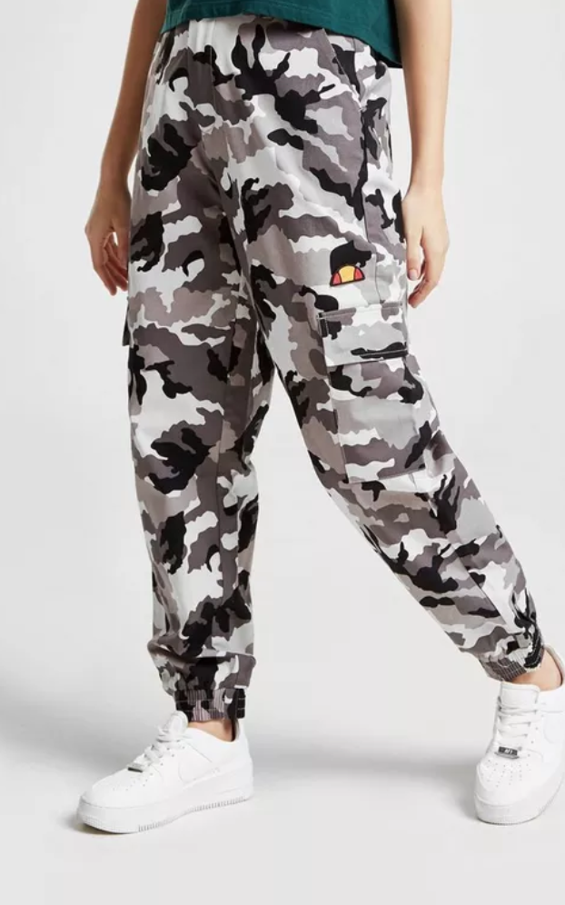 39979baf3652c3 Make a statement on the streets with these women's Cargo Pants from  Ellesse. In a black and white camo design, these cargo pants make you  standout from the ...
