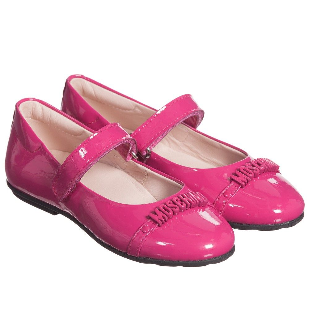 Girls Fuchsia Pink Patent Shoes, Moschino, Girl   Baby pink