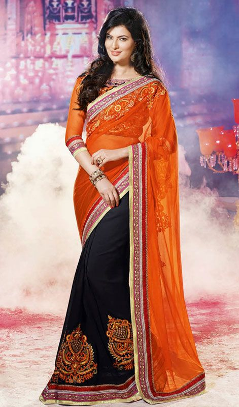 Black and Orange Georgette Net Half N Half Saree My kinda girl