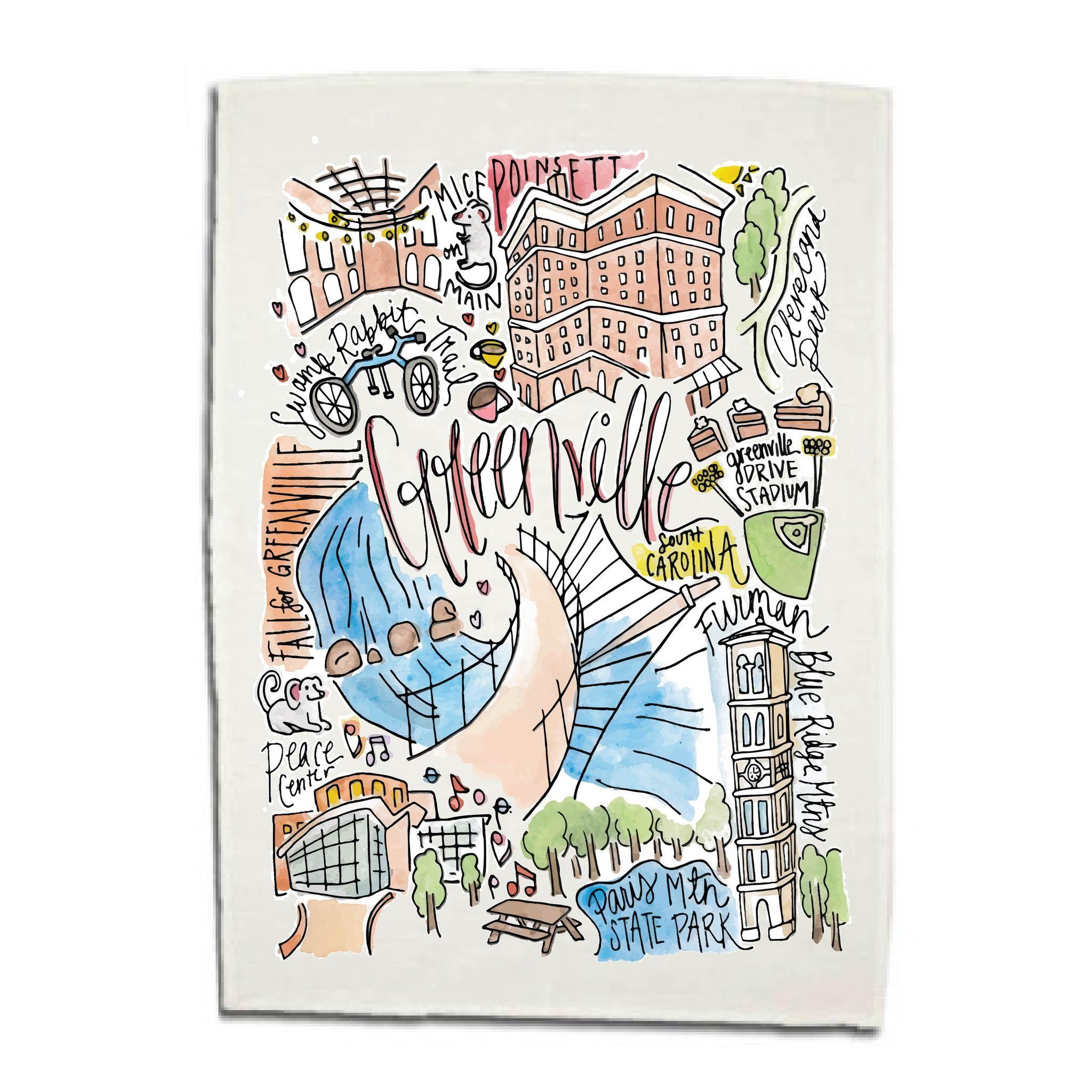 db30ca9d5f23a Greenville, SC Dishtowel | Southeastern Art Prints | Dish towels ...