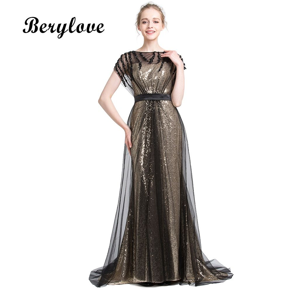 Black Mermaid Sequin Tulle Evening Dresses 2018 Beaded Long Evening Gowns  Plus Size Prom Dresses Formal Dress Party Gowns  алиэкспресс  aliexpress 9fe53b466ea8