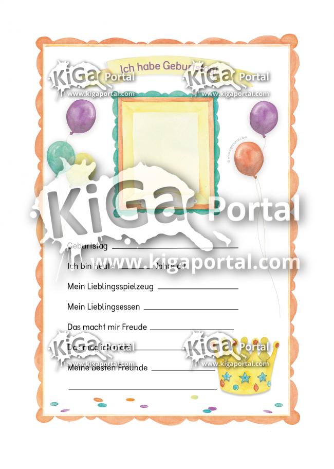De Kigaportal Kindergarten Geburtstag Geburtstagssteckbrief