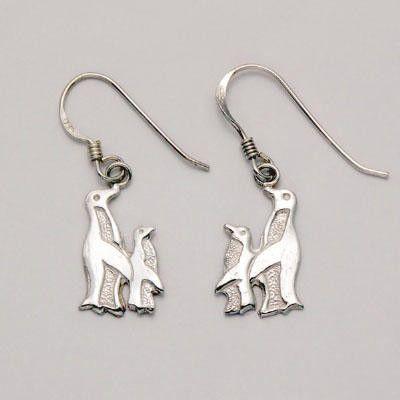 Penguin & Chick Silver Dangle Earrings