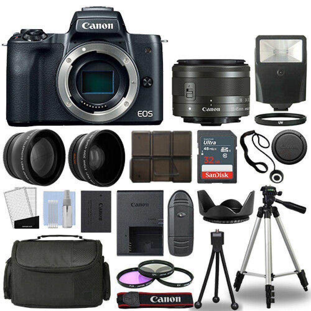 Canon Eos M50 Camera Body Black 3 Lens Kit 15 45mm Is Stm 32gb Flash