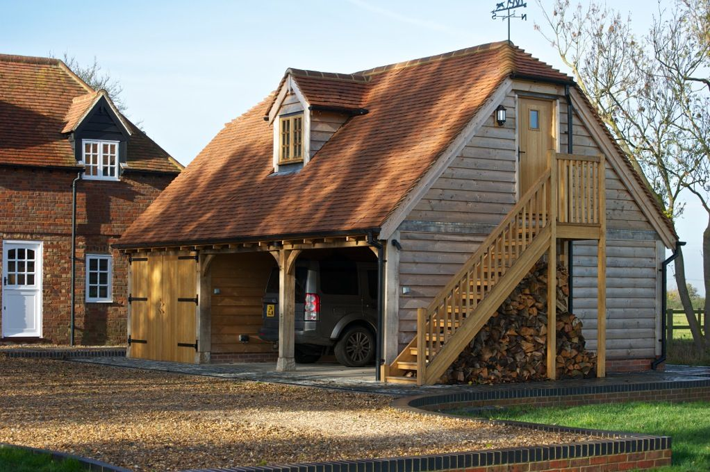 Wooden Garage With Room Above