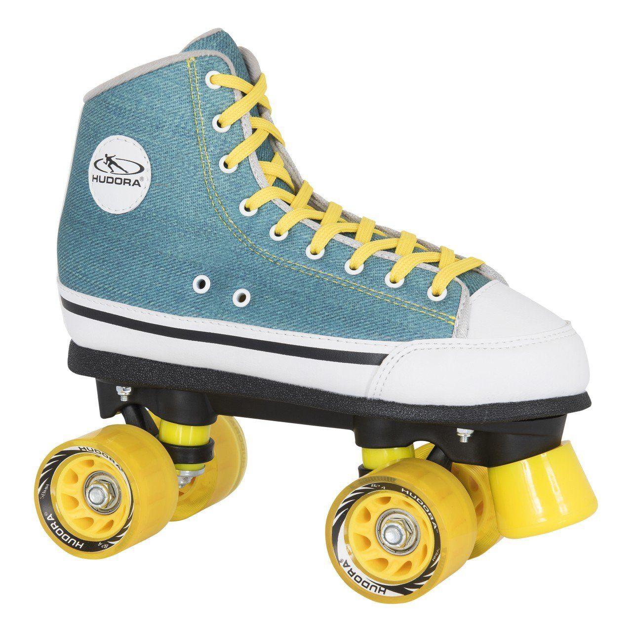 def3e2e6386 Der Spielzeugtester hat das HUDORA Rollschuhe Roller-Skates Green Denim,  Disco-Roller,