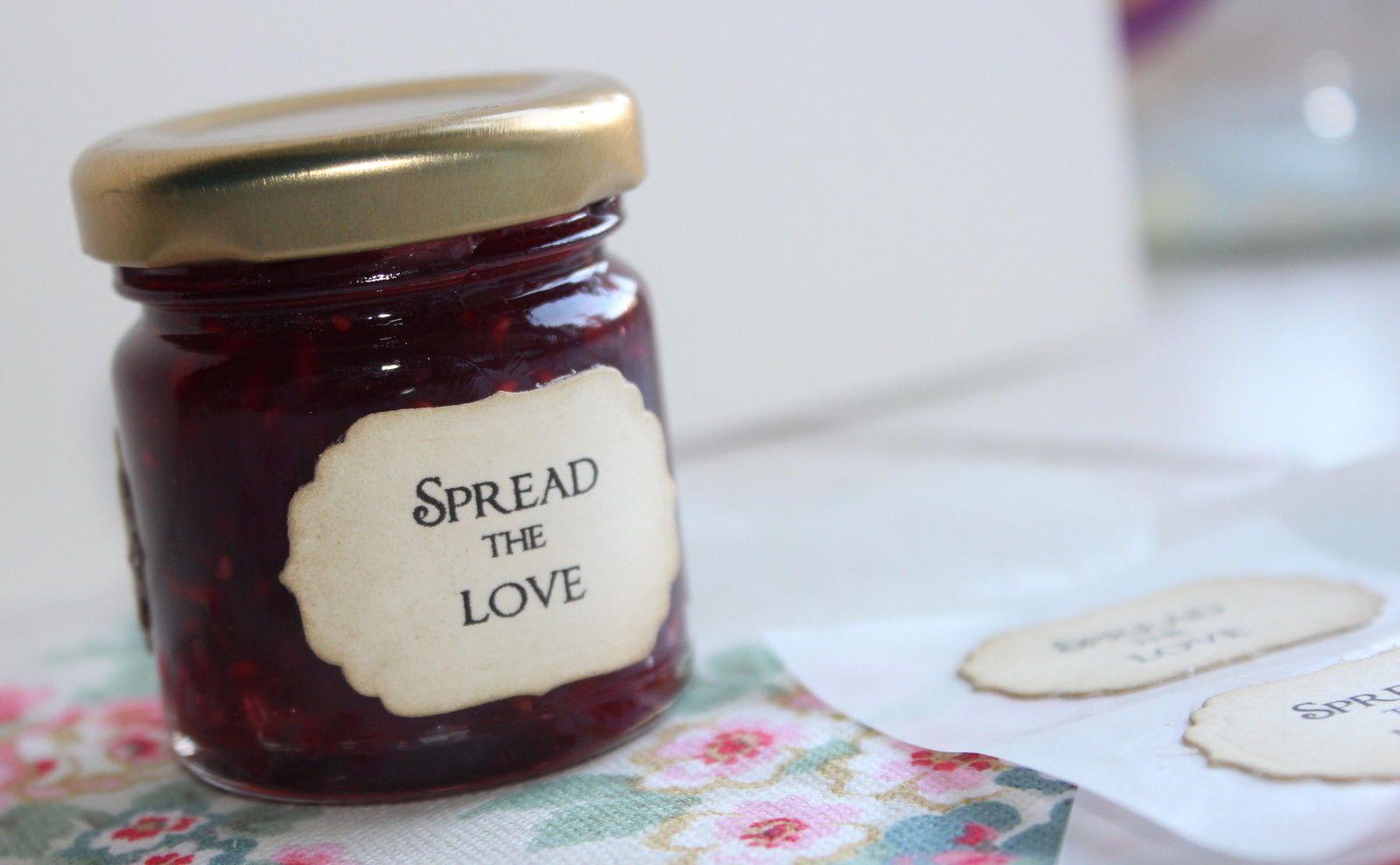 Spread The Love-Adhesive Labels-Seals-Mini Jam Jar-Vintage Style ...