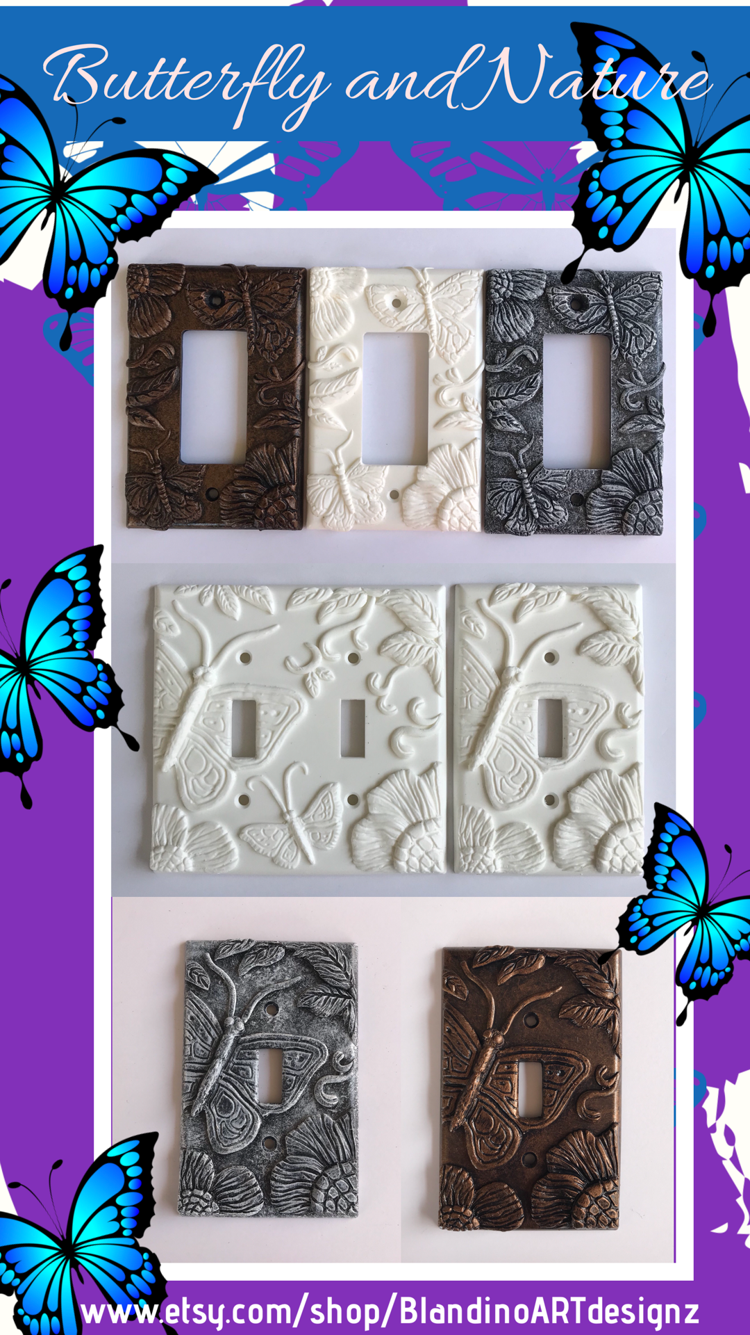 Three dimensional hand crafted light switch plates